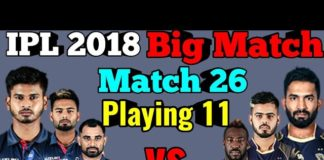 IPL మ్యాచ్ 2018 | IPL 2018 Match 26 | Kolkata Knight Riders VS Delhi Daredevils Playing 11